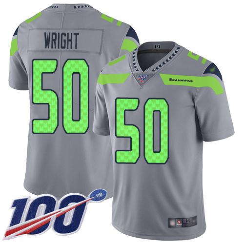 Men's Seattle Seahawks #50 K.J. Wright Silver Football Inverted Legend 100th Season Jersey