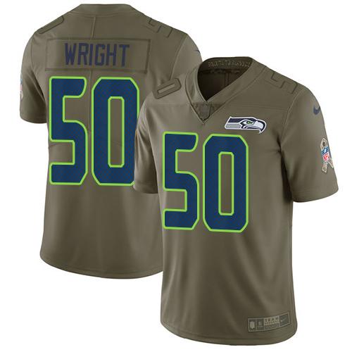 Men's Seattle Seahawks #50 K.J. Wright Olive Nike NFL 2017 Salute to Service Limited Jersey