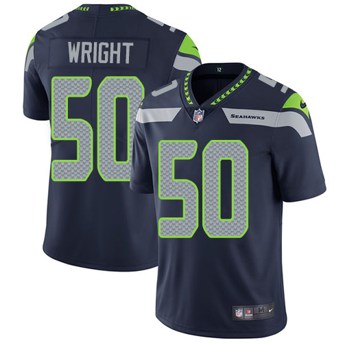 Men's Seattle Seahawks #50 K.J. Wright Navy Blue Nike NFL Home Vapor Untouchable Limited Jersey