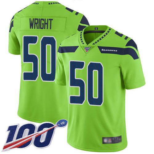 Men's Seattle Seahawks #50 K.J. Wright Green Football Rush Vapor Untouchable 100th Season Limited Jersey