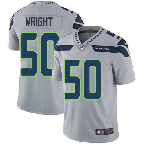 Men's Seattle Seahawks #50 K.J. Wright Grey Nike NFL Alternate Vapor Untouchable Limited Jersey