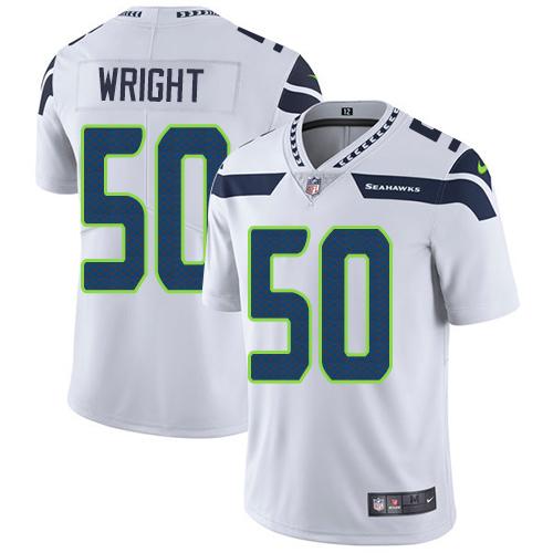 Men's Seattle Seahawks #50 K.J. Wright White Nike NFL Road Vapor Untouchable Limited Jersey
