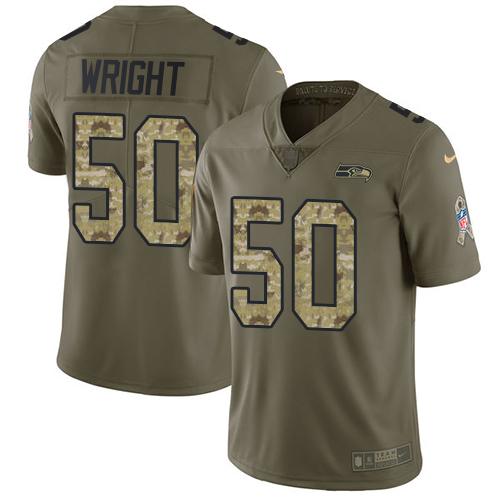 Men's Seattle Seahawks #50 K.J. Wright Olive Camo Nike 2017 Salute to Service Jersey