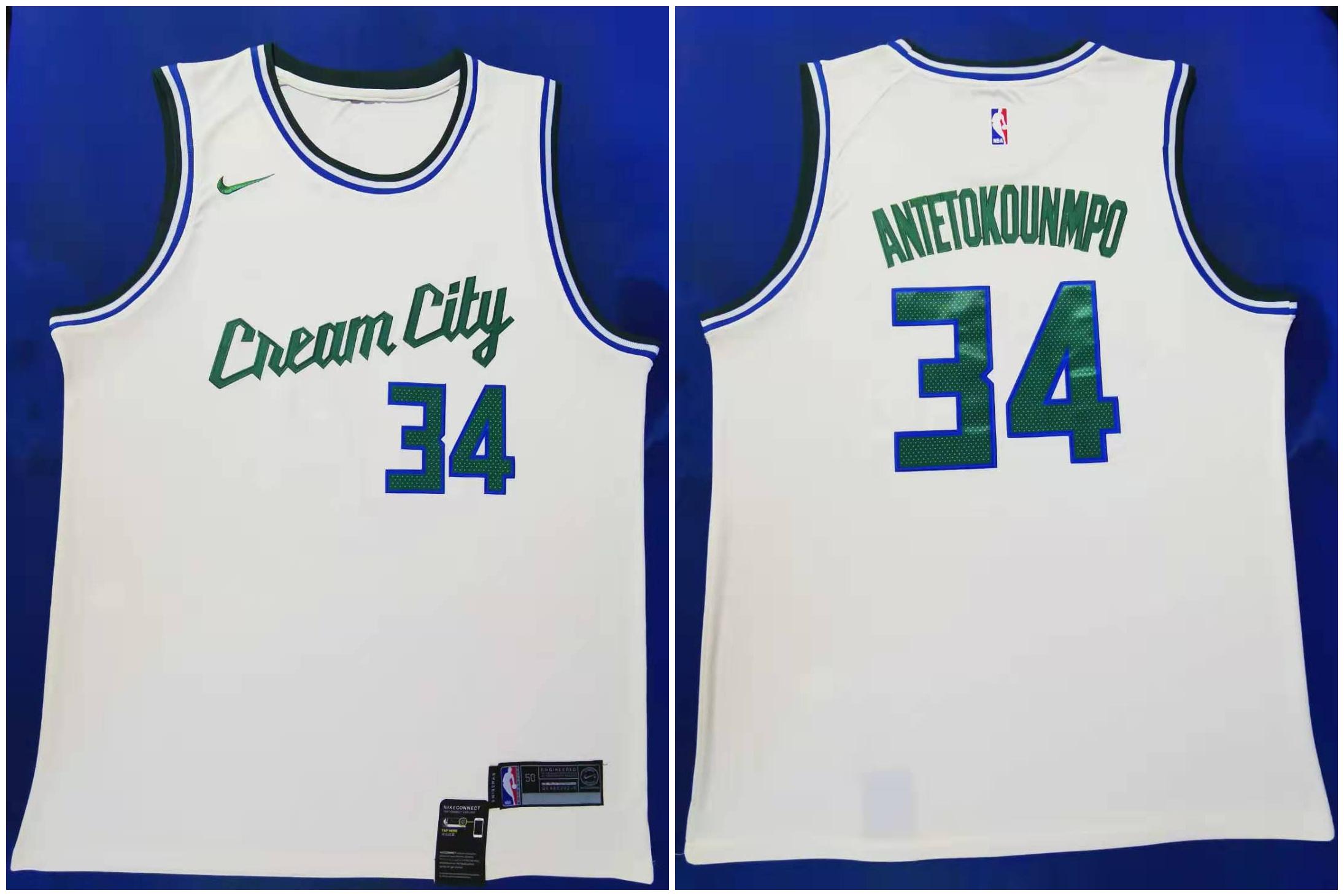 Bucks #34 Giannis Antetokounmpo Cream 2019-20 City Edition Nike Swingman Jersey