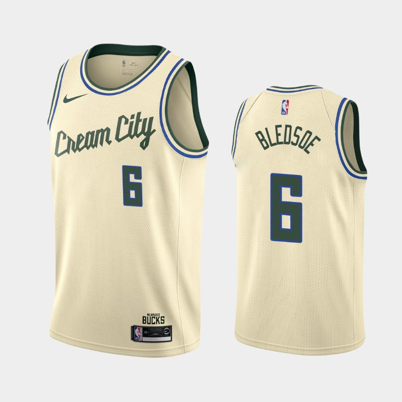 Bucks #6 Eric Bledsoe Cream 2019-20 Nike City Edition Swingman Jersey