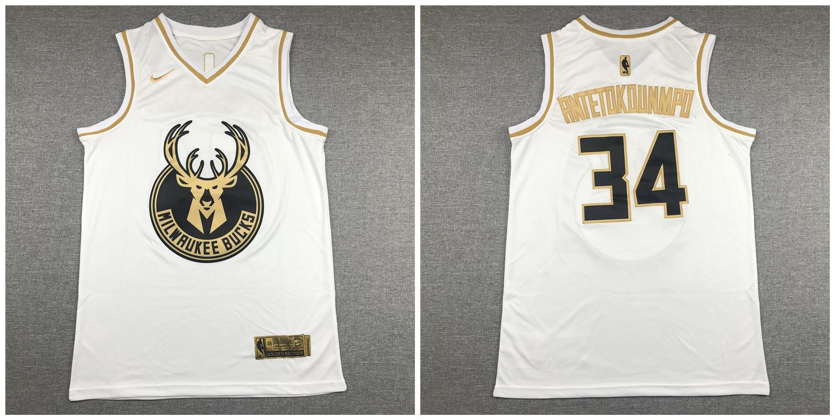 Bucks #34 Giannis Antetokounmpo White Gold Nike Swingman Jersey