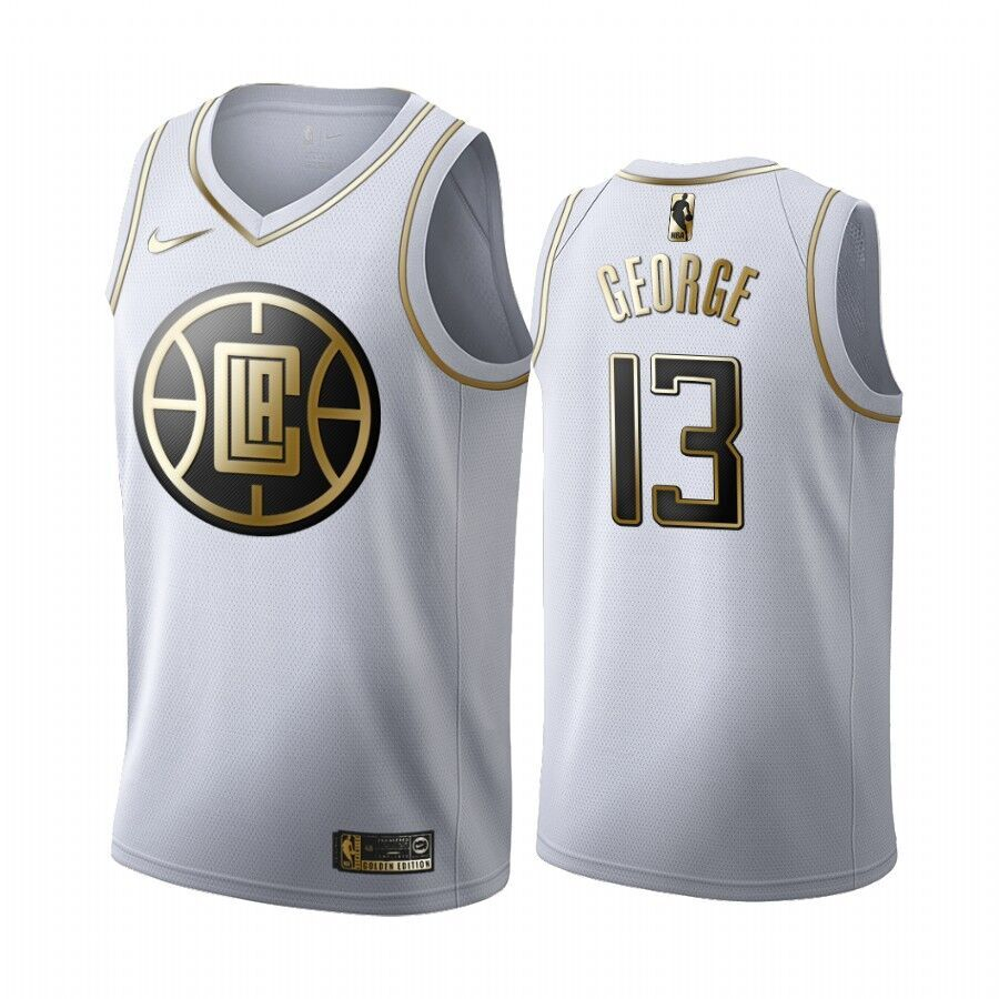 Clippers #13 Paul George White Gold Swingman Jersey
