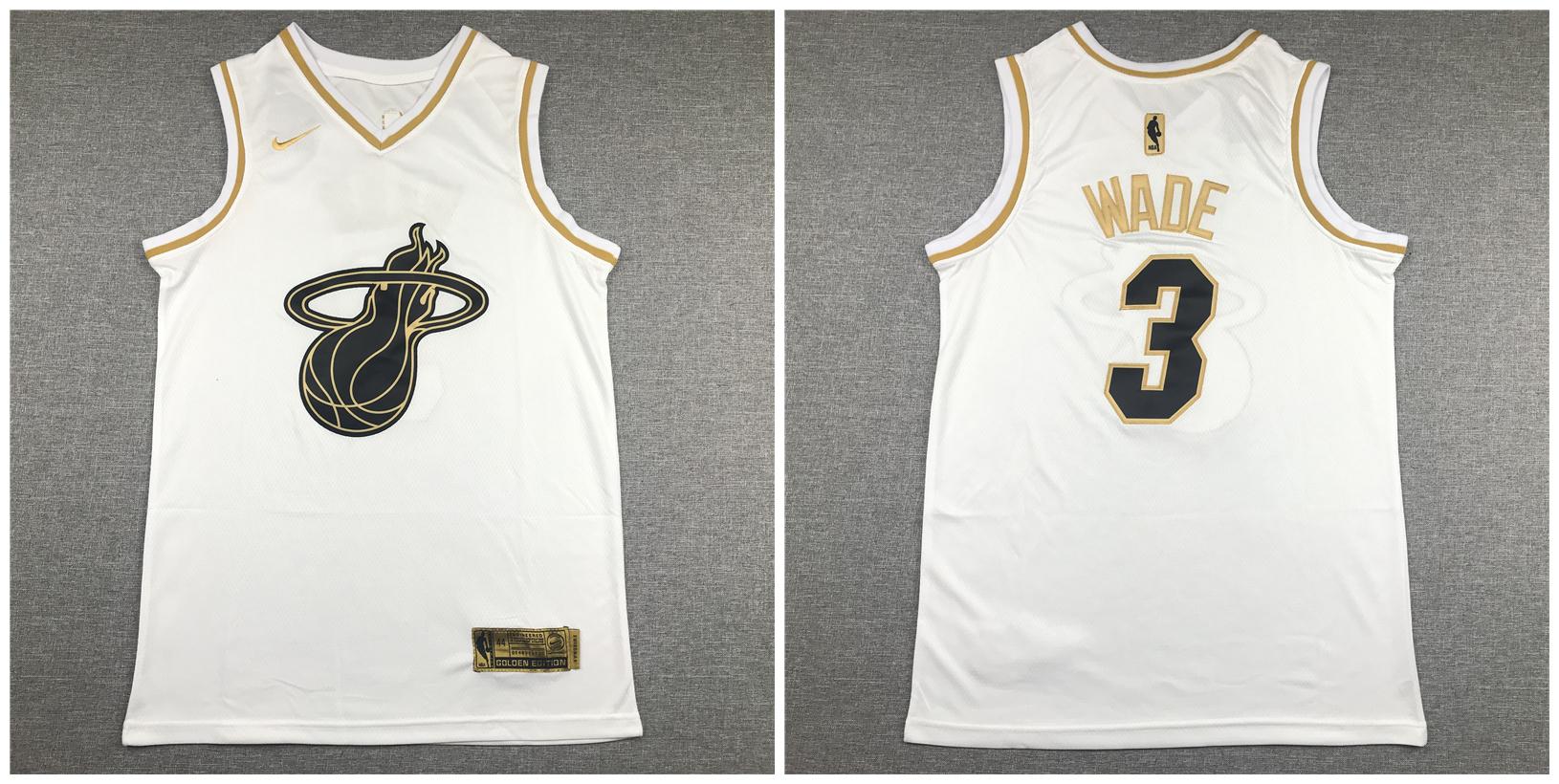Heat #3 Dwyane Wade White Gold Nike Swingman Jersey