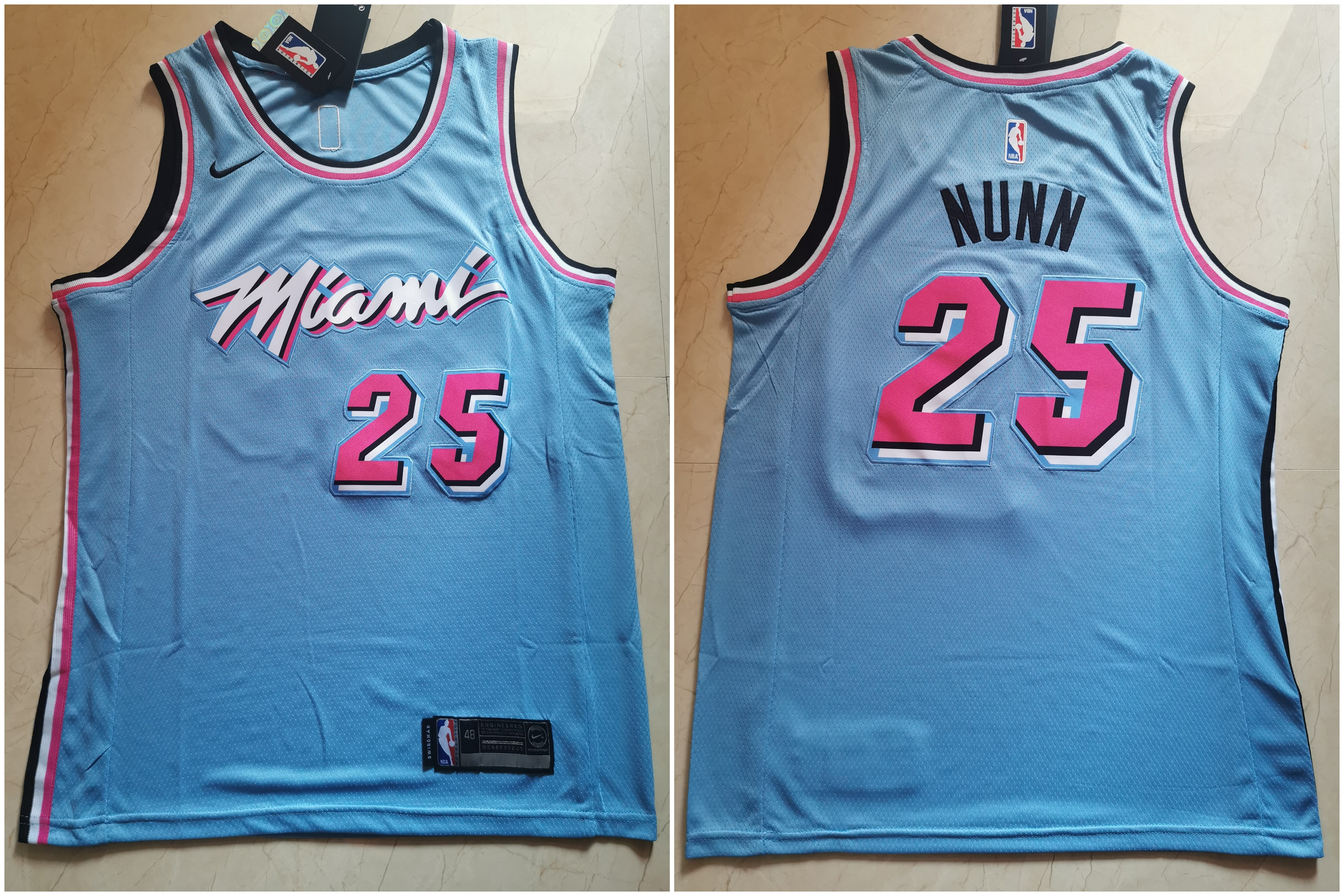Heat #25 Kendrick Nunn Blue City Edition Nike Swingman Jersey