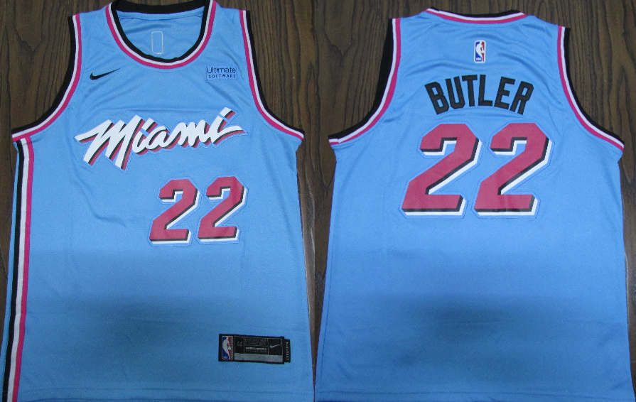 Heat #22 Jimmy Butler Blue 2019-20 Nike City Edition Swingman Jersey
