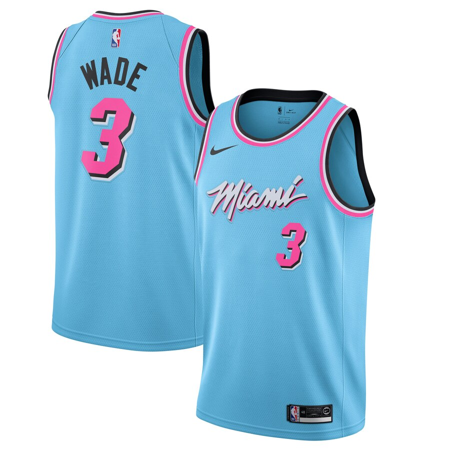 Heat #3 Dwyane Wade Blue 2019-20 Nike City Edition Swingman Jerse
