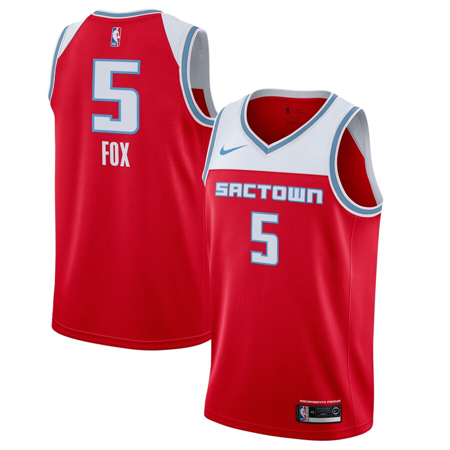 Kings #5 De'Aaron Fox Red 2019-20 City Edition Nike Swingman Jersey