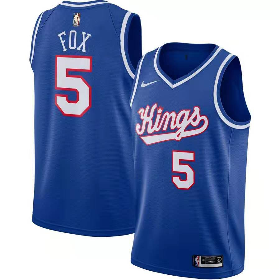 Kings #5 De'Aaron Fox Blue Nike Swingman Jersey