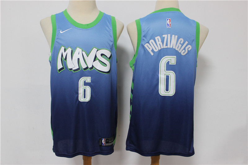 Mavericks #6 Kristaps Porzingis Blue 2019-20 City Edition Nike Swingman Jersey