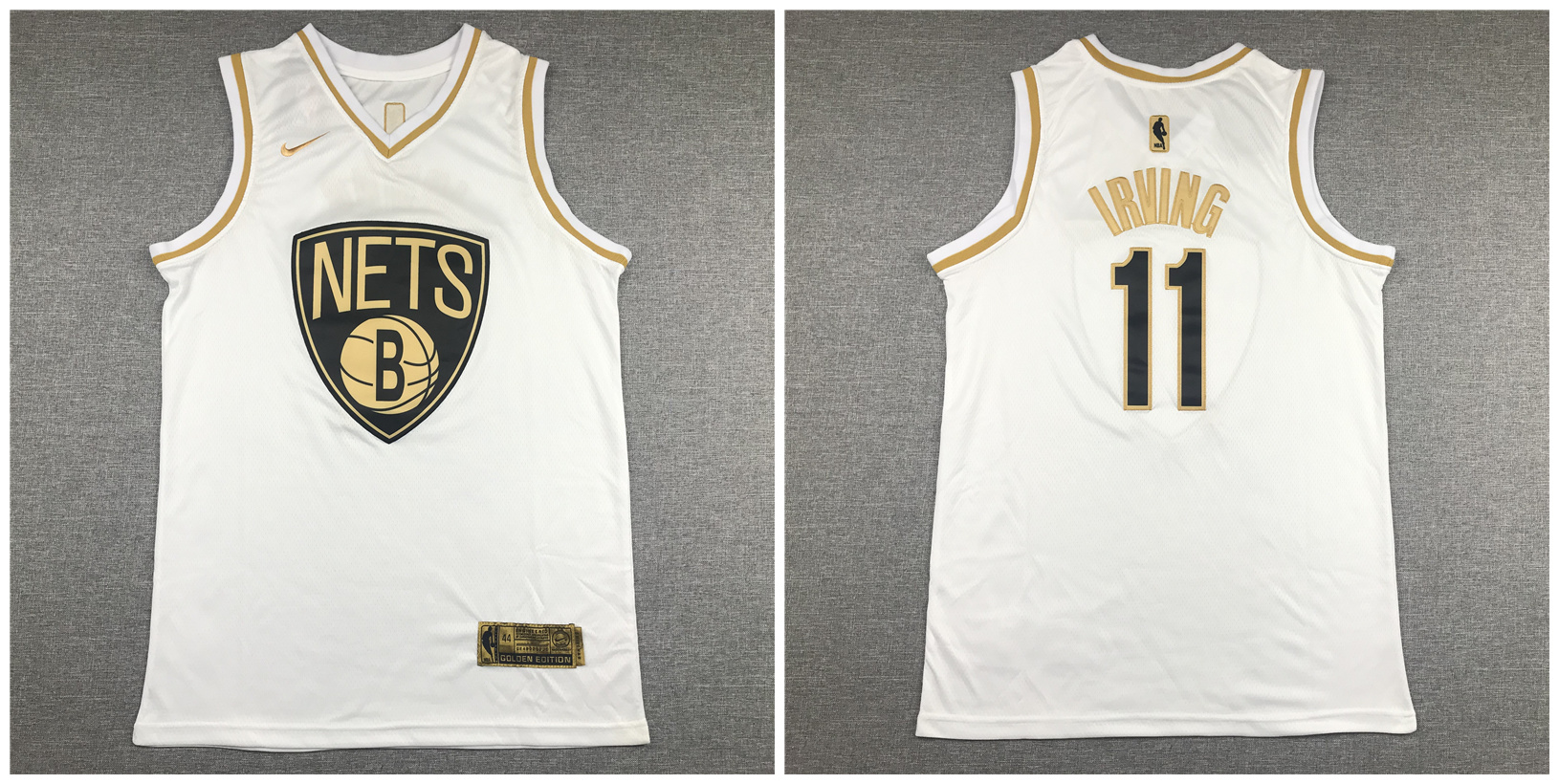Nets #11 Kyrie Irving White Gold Nike Swingman Jersey