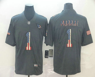 Men's Arizona Cardinals #1 Kyler Murray 2019 Black Salute To Service USA Flag Fashion Limited Jersey