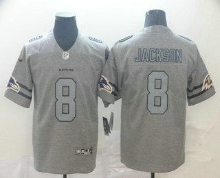 Men's Baltimore Ravens #8 Lamar Jackson 2019 Gray Gridiron Vapor Untouchable Stitched NFL Nike Limited Jersey