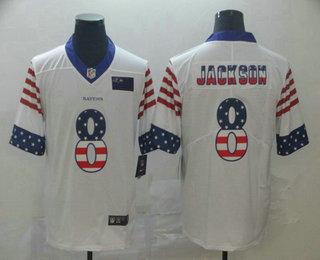 Men's Baltimore Ravens #8 Lamar Jackson White Independence Day Stars Stripes Jersey