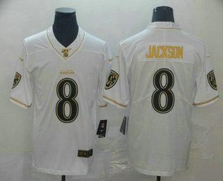Men's Baltimore Ravens #8 Lamar Jackson White 100th Season Golden Edition Jersey