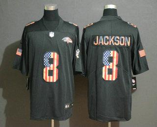 Men's Baltimore Ravens #8 Lamar Jackson 2019 Black Salute To Service USA Flag Fashion Limited Jersey