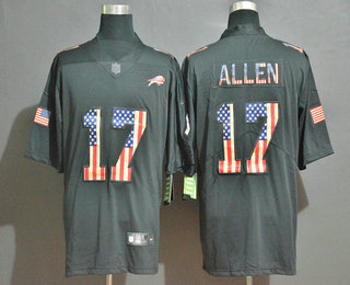 Men's Buffalo Bills #17 Josh Allen 2019 Black Salute To Service USA Flag Fashion Limited Jersey