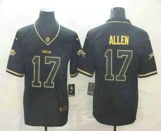 Men's Buffalo Bills #17 Josh Allen Black 100th Season Golden Edition Jersey