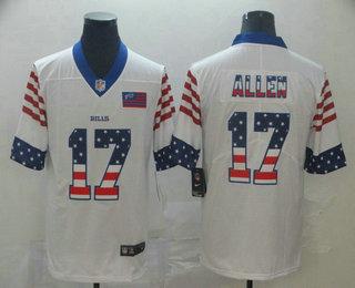 Men's Buffalo Bills #17 Josh Allen White Independence Day Stars Stripes Jersey