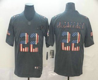 Men's Carolina Panthers #22 Christian McCaffrey 2019 Black Salute To Service USA Flag Fashion Limited Jersey