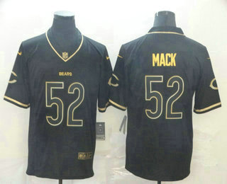 Men's Chicago Bears #52 Khalil Mack Black 100th Season Golden Edition Jersey
