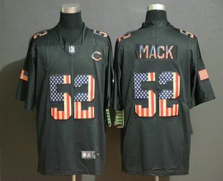Men's Chicago Bears #52 Khalil Mack 2019 Black Salute To Service USA Flag Fashion Limited Jersey