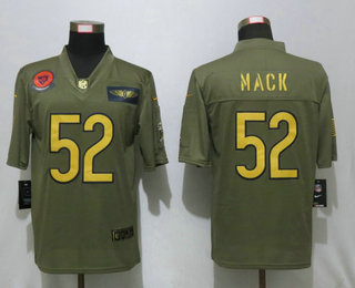 Men's Chicago Bears #52 Khalil Mack Olive Gold 2019 Salute To Service Stitched NFL Nike Limited Jersey