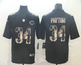 Men's Chicago Bears #34 Walter Payton Black Statue Of Liberty Stitched NFL Nike Limited Jersey