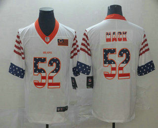Men's Chicago Bears #52 Khalil Mack White Independence Day Stars Stripes Jersey