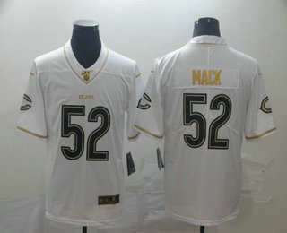 Men's Chicago Bears #52 Khalil Mack White 100th Season Golden Edition Jersey