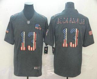 Men's Cleveland Browns #13 Odell Beckham Jr 2019 Black Salute To Service USA Flag Fashion Limited Jersey