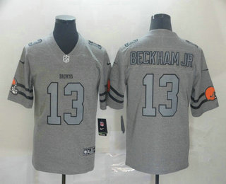 Men's Cleveland Browns #13 Odell Beckham Jr 2019 Gray Gridiron Vapor Untouchable Stitched NFL Nike Limited Jersey