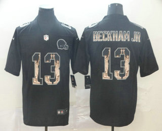 Men's Cleveland Browns #13 Odell Beckham Jr Black Statue Of Liberty Stitched NFL Nike Limited Jersey