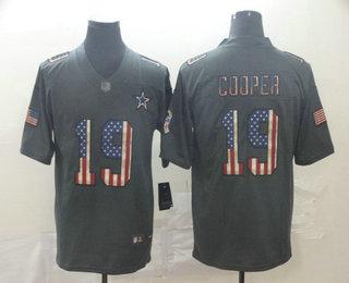 Men's Dallas Cowboys #19 Amari Cooper 2019 Black Salute To Service USA Flag Fashion Limited Jersey