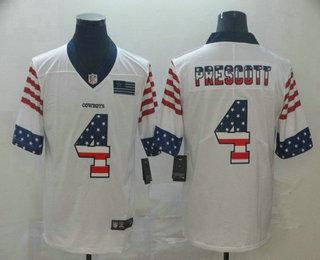 Men's Dallas Cowboys #4 Dak Prescott White Independence Day Stars Stripes Jersey