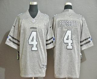 Men's Dallas Cowboys #4 Dak Prescott 2019 Gray Gridiron Vapor Untouchable Stitched NFL Nike Limited Jersey