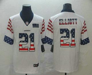 Men's Dallas Cowboys #21 Ezekiel Elliott White Independence Day Stars Stripes Jersey
