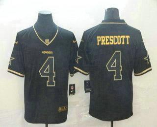 Men's Dallas Cowboys #4 Dak Prescott Black 100th Season Golden Edition Jersey