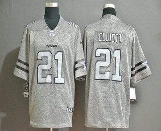 Men's Dallas Cowboys #21 Ezekiel Elliott 2019 Gray Gridiron Vapor Untouchable Stitched NFL Nike Limited Jersey