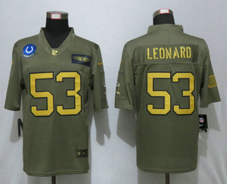 Men's Indianapolis Colts #53 Darius Leonard Olive Gold 2019 Salute To Service Stitched NFL Nike Limited Jersey