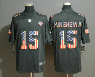 Men's Jacksonville Jaguars #15 Gardner Minshew II 2019 Black Salute To Service USA Flag Fashion Limited Jersey