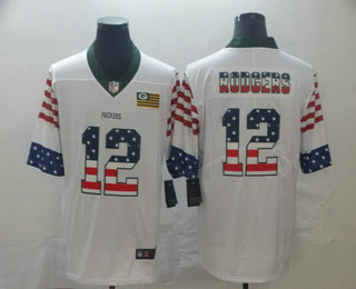 Men's Green Bay Packers #12 Aaron Rodgers White Independence Day Stars Stripes Jersey