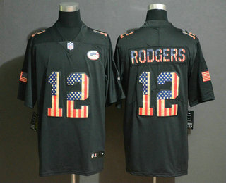 Men's Green Bay Packers #12 Aaron Rodgers 2019 Black Salute To Service USA Flag Fashion Limited Jersey
