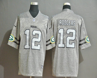 Men's Green Bay Packers #12 Aaron Rodgers 2019 Gray Gridiron Vapor Untouchable Stitched NFL Nike Limited Jersey