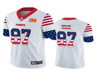 Men's Kansas City Chiefs #87 Travis Kelce White Independence Day Stars Stripes Jersey