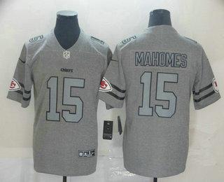 Men's Kansas City Chiefs #15 Patrick Mahomes 2019 Gray Gridiron Vapor Untouchable Stitched NFL Nike Limited Jersey